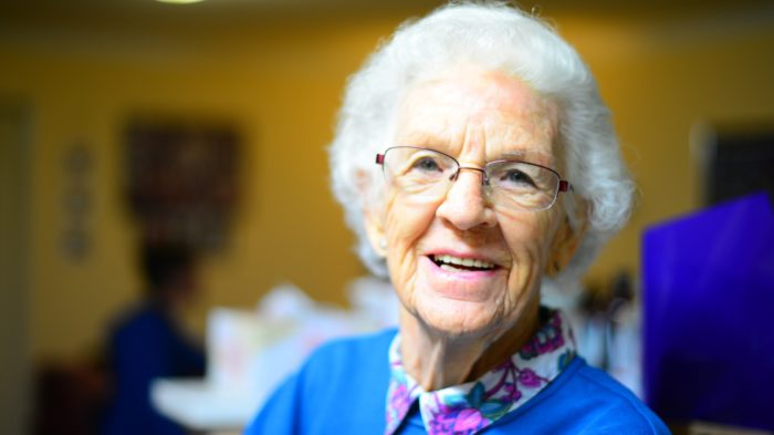 close up of smiling senior woman